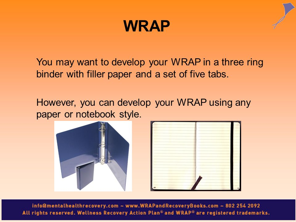 You may want to develop your WRAP in a three ring binder with filler paper and a set of five tabs. However, you can develop your WRAP using any paper