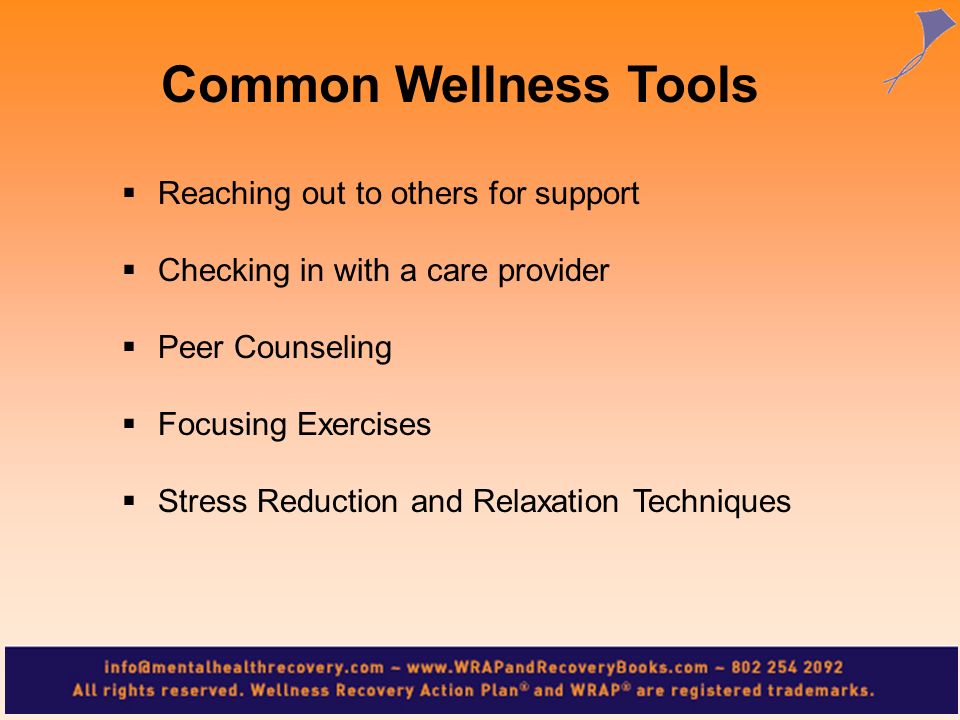 Reaching out to others for support Checking in with a care provider Peer Counseling Focusing Exercises Stress Reduction and Relaxation Techniques Comm