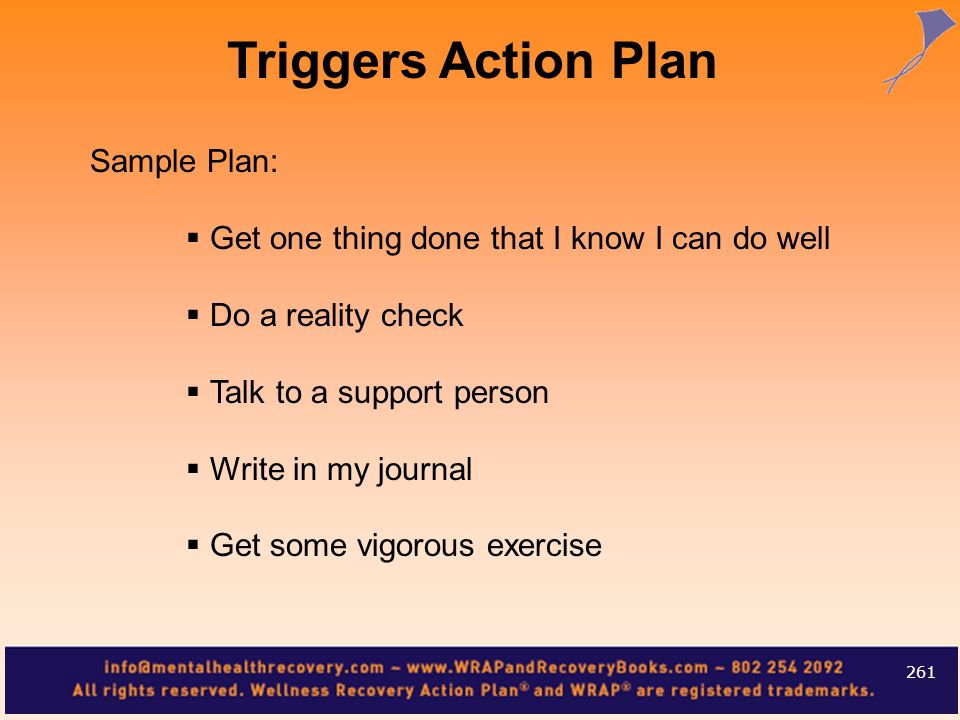 Sample Plan: Get one thing done that I know I can do well Do a reality check Talk to a support person Write in my journal Get some vigorous exercise 2