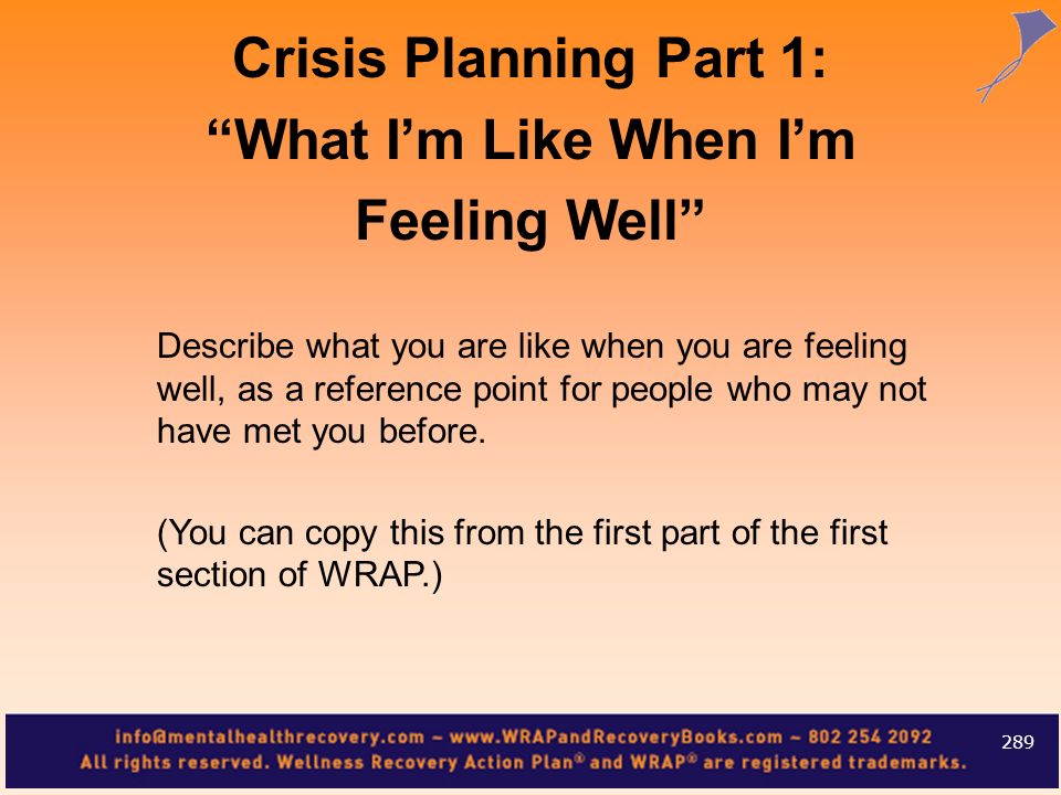 Describe what you are like when you are feeling well, as a reference point for people who may not have met you before. (You can copy this from the fir