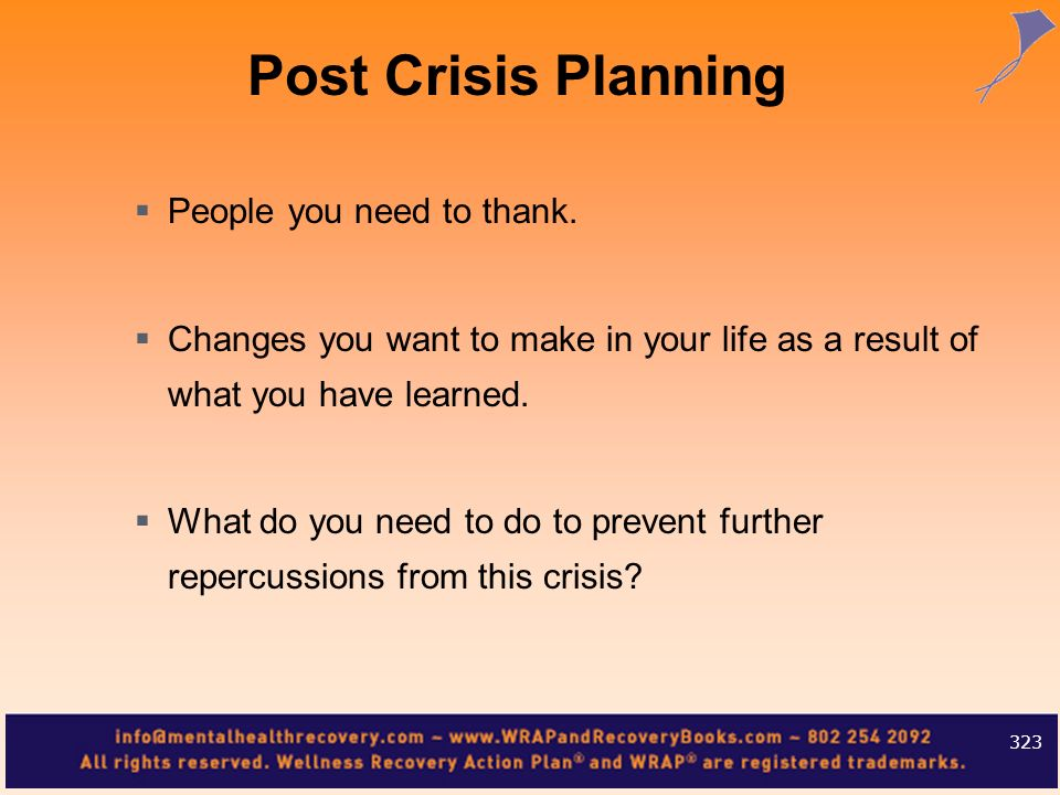 People you need to thank. Changes you want to make in your life as a result of what you have learned. What do you need to do to prevent further reperc