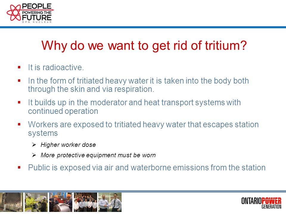 Tritiated Heavy Water Deuterium atom Tritium atom Half-life 12.3 yrs Oxygen atom