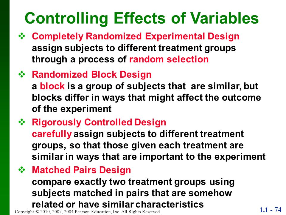1.1 - 74 Copyright © 2010, 2007, 2004 Pearson Education, Inc. All Rights Reserved. Controlling Effects of Variables Completely Randomized Experimental