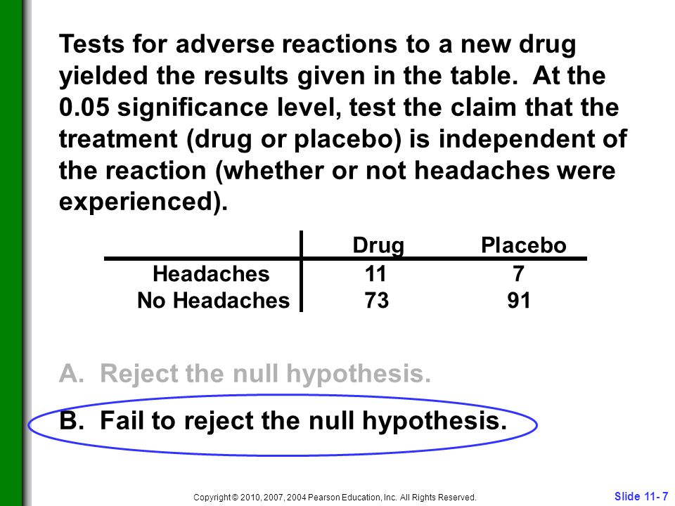 Slide 11- 7 Copyright © 2010, 2007, 2004 Pearson Education, Inc. All Rights Reserved. Tests for adverse reactions to a new drug yielded the results gi