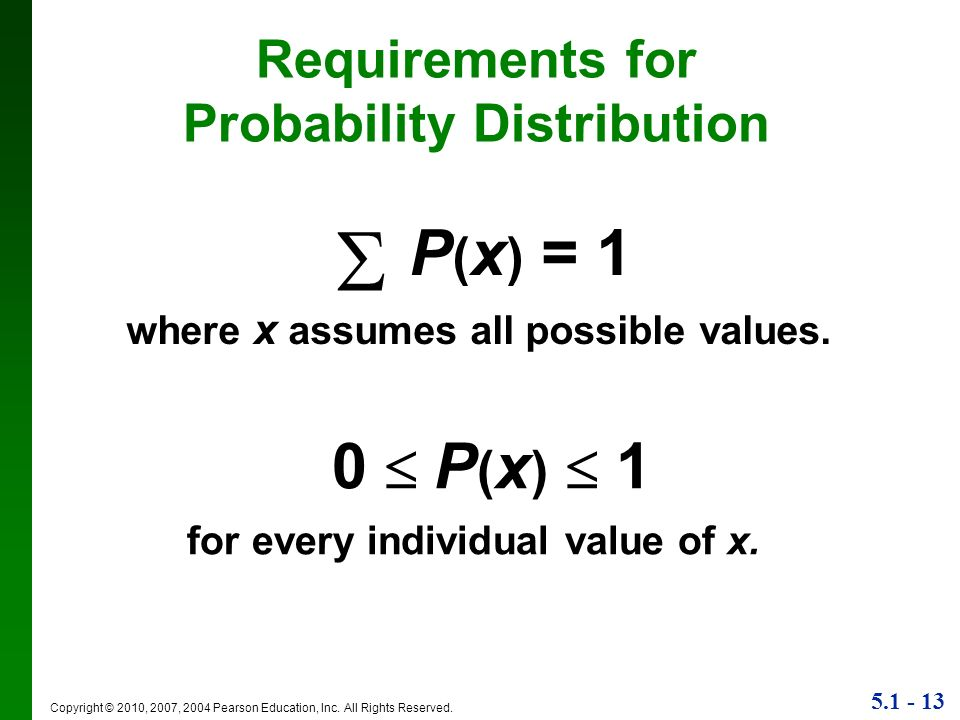5.1 - 13 Copyright © 2010, 2007, 2004 Pearson Education, Inc. All Rights Reserved. Requirements for Probability Distribution P ( x ) = 1 where x assum
