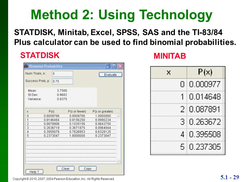 5.1 - 29 Copyright © 2010, 2007, 2004 Pearson Education, Inc. All Rights Reserved. STATDISK, Minitab, Excel, SPSS, SAS and the TI-83/84 Plus calculato