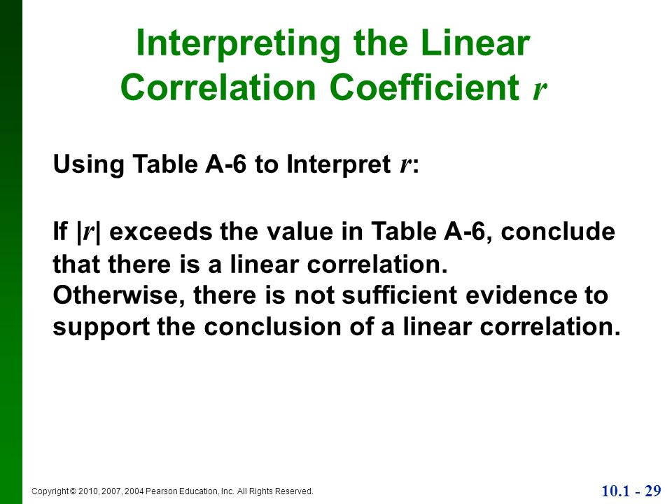 Copyright © 2010, 2007, 2004 Pearson Education, Inc. All Rights Reserved. 10.1 - 29 Interpreting the Linear Correlation Coefficient r Using Table A-6