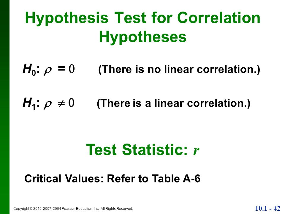 Copyright © 2010, 2007, 2004 Pearson Education, Inc. All Rights Reserved. 10.1 - 42 Hypothesis Test for Correlation Hypotheses H 0 : = (There is no li