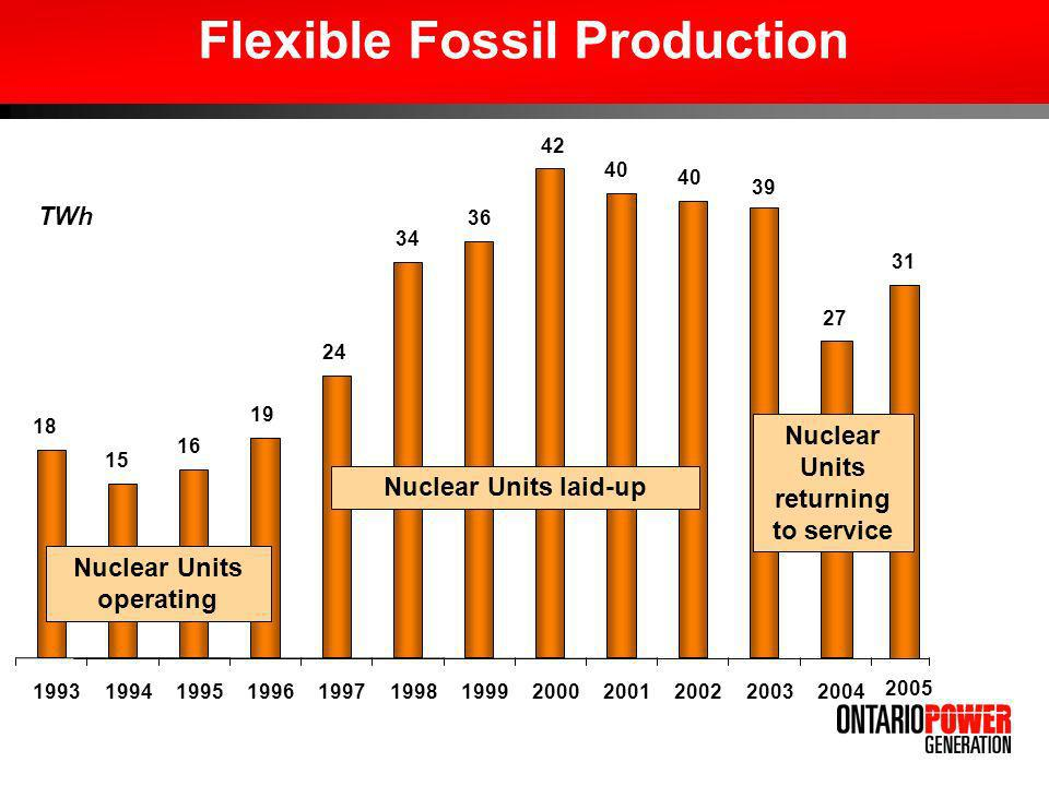 Flexible Fossil Production 18 15 16 19 24 34 36 42 40 31 199319941995199619971998199920002001200220032004 TWh Nuclear Units operating Nuclear Units laid-up 27 2005 Nuclear Units returning to service 39