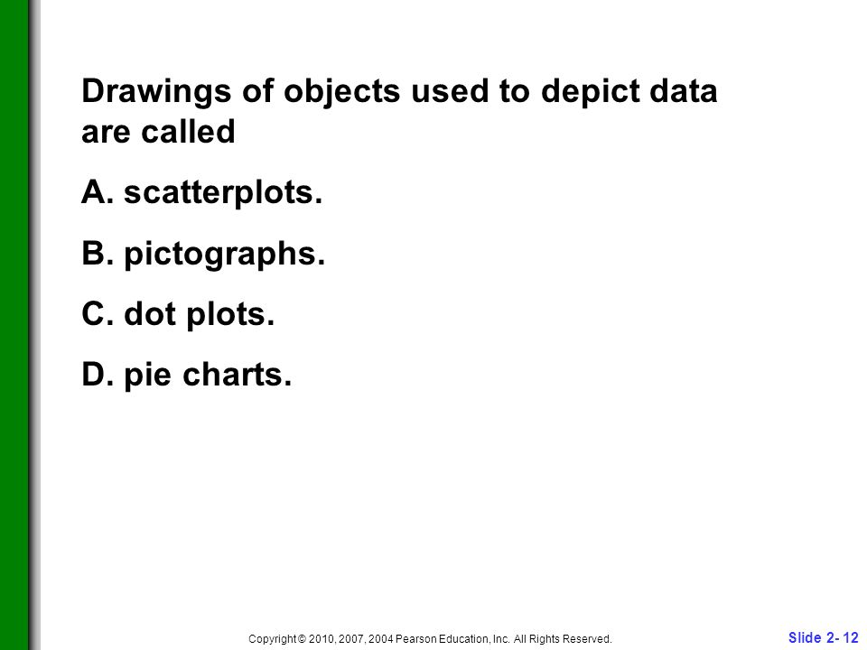 Slide 2- 12 Copyright © 2010, 2007, 2004 Pearson Education, Inc. All Rights Reserved. Drawings of objects used to depict data are called A. scatterplo