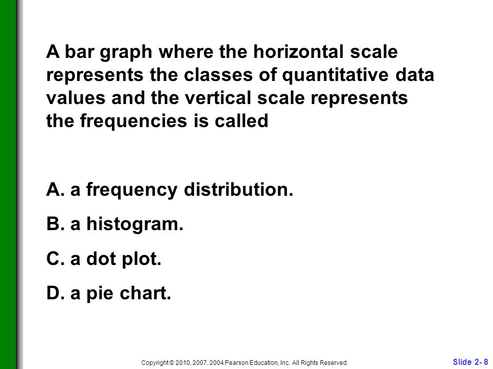Slide 2- 8 Copyright © 2010, 2007, 2004 Pearson Education, Inc. All Rights Reserved. A bar graph where the horizontal scale represents the classes of