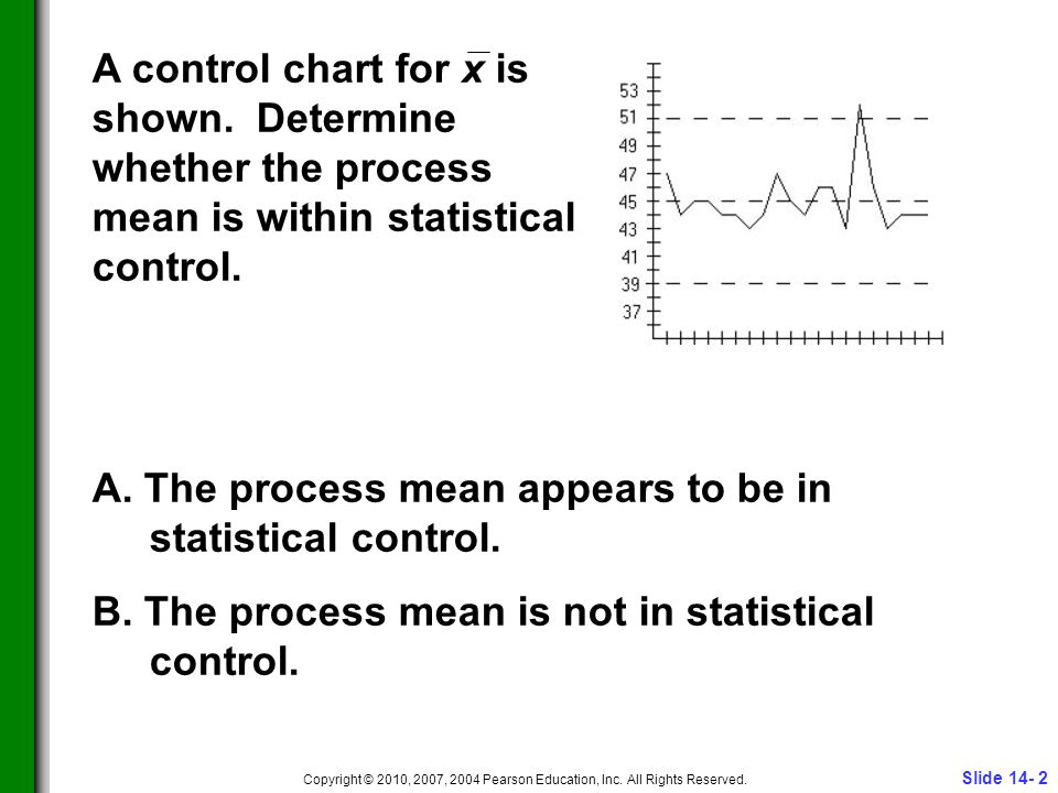 Slide 14- 2 Copyright © 2010, 2007, 2004 Pearson Education, Inc. All Rights Reserved. A control chart for x is shown. Determine whether the process me
