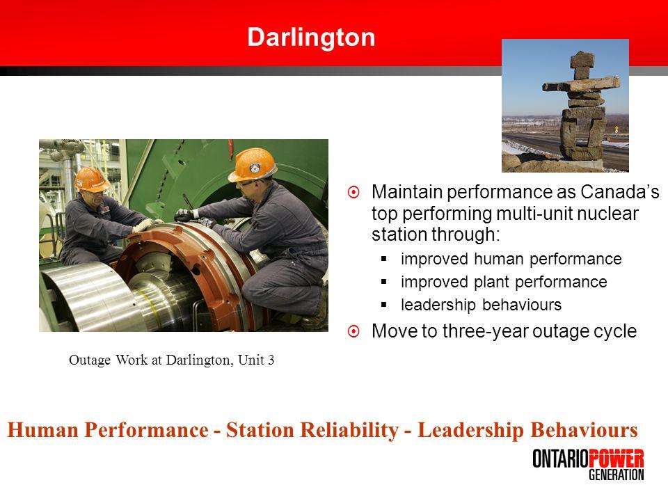 Darlington Maintain performance as Canadas top performing multi-unit nuclear station through: improved human performance improved plant performance le