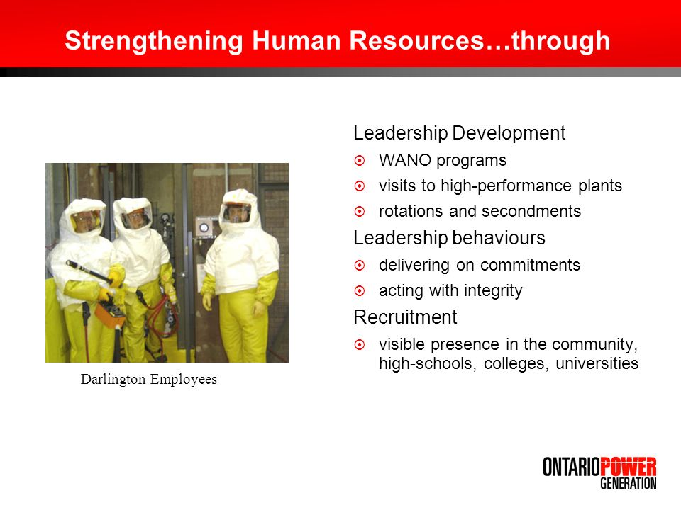 Strengthening Human Resources…through Leadership Development WANO programs visits to high-performance plants rotations and secondments Leadership beha