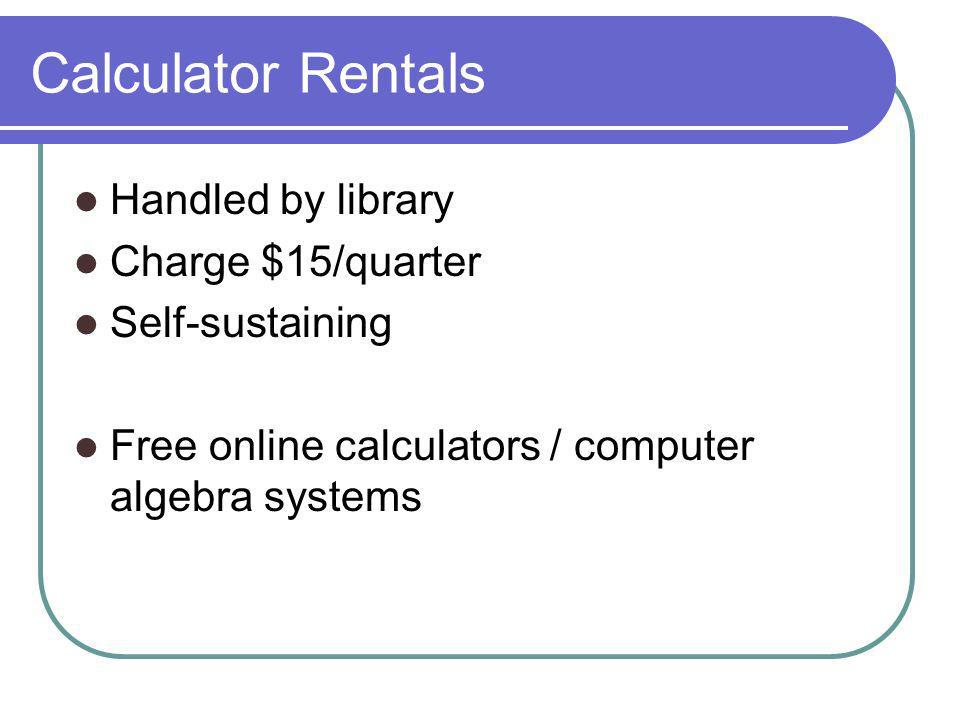 Calculator Rentals Handled by library Charge $15/quarter Self-sustaining Free online calculators / computer algebra systems