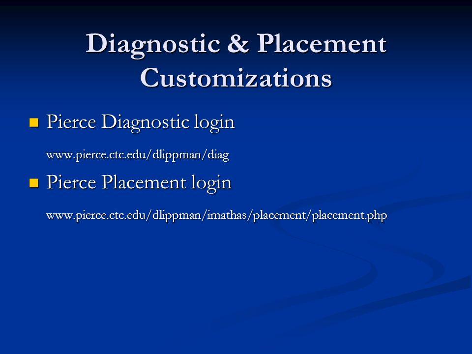 Diagnostic & Placement Customizations Pierce Diagnostic login Pierce Diagnostic loginwww.pierce.ctc.edu/dlippman/diag Pierce Placement login Pierce Pl