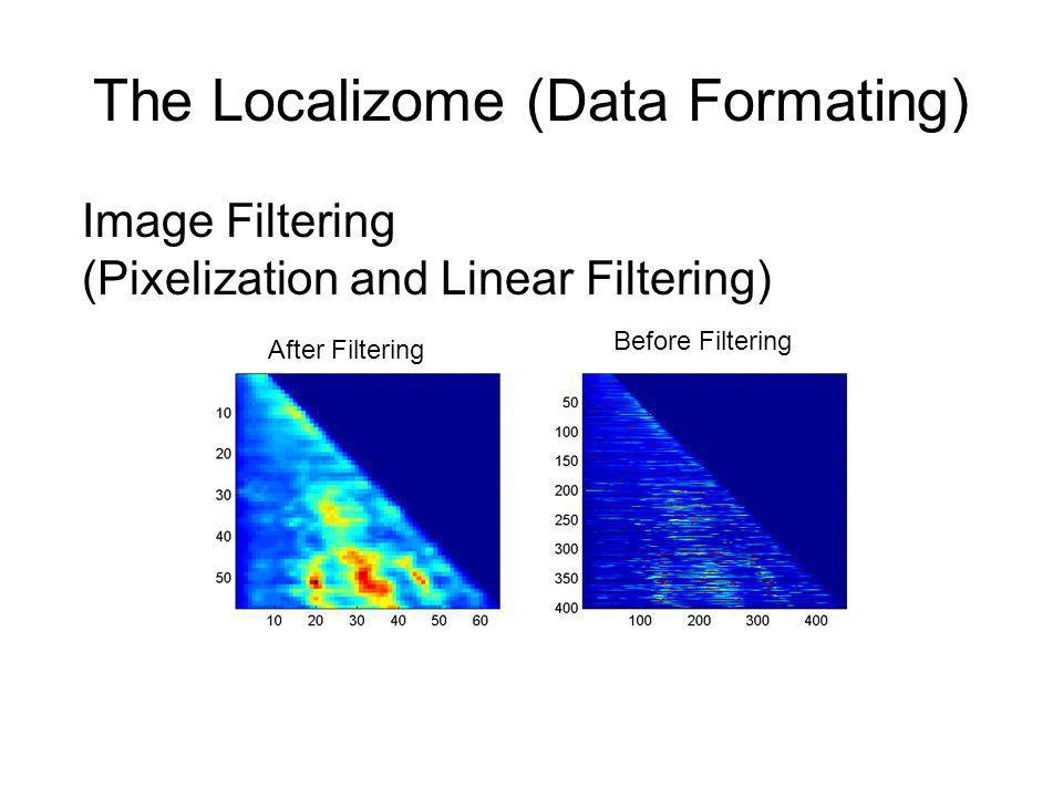 The Localizome (Data Formating) Image Filtering (Pixelization and Linear Filtering) Before Filtering After Filtering