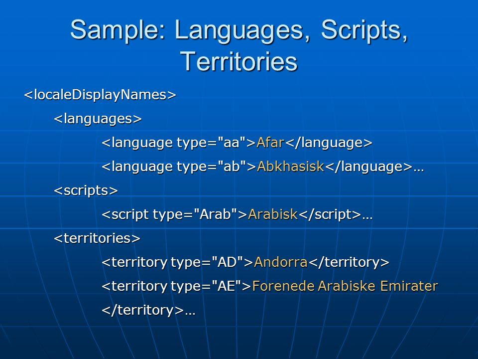Sample: Languages, Scripts, Territories <localeDisplayNames><languages> Afar Afar Abkhasisk … Abkhasisk …<scripts> Arabisk … Arabisk …<territories> Andorra Andorra Forenede Arabiske Emirater Forenede Arabiske Emirater</territory>…