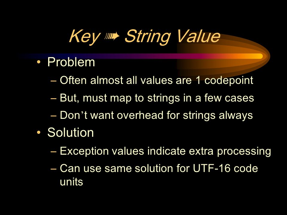 Key String Value Problem –Often almost all values are 1 codepoint –But, must map to strings in a few cases –Don t want overhead for strings always Solution –Exception values indicate extra processing –Can use same solution for UTF-16 code units