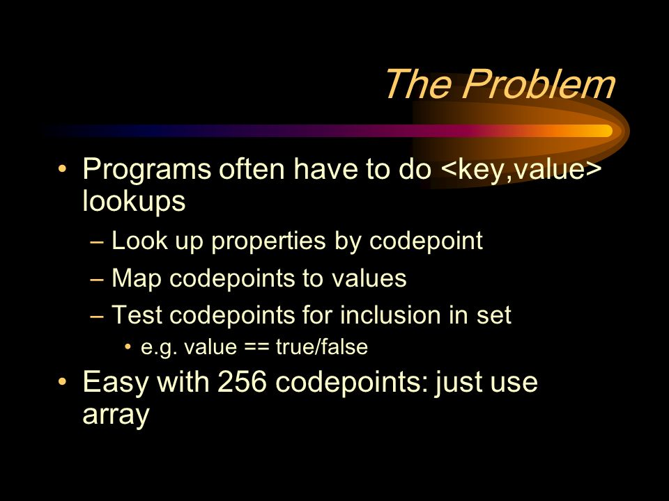 The Problem Programs often have to do lookups –Look up properties by codepoint –Map codepoints to values –Test codepoints for inclusion in set e.g.