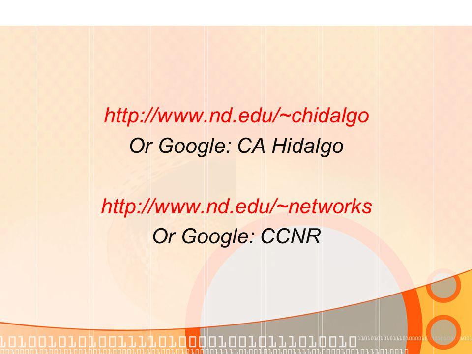 http://www.nd.edu/~chidalgo Or Google: CA Hidalgo http://www.nd.edu/~networks Or Google: CCNR