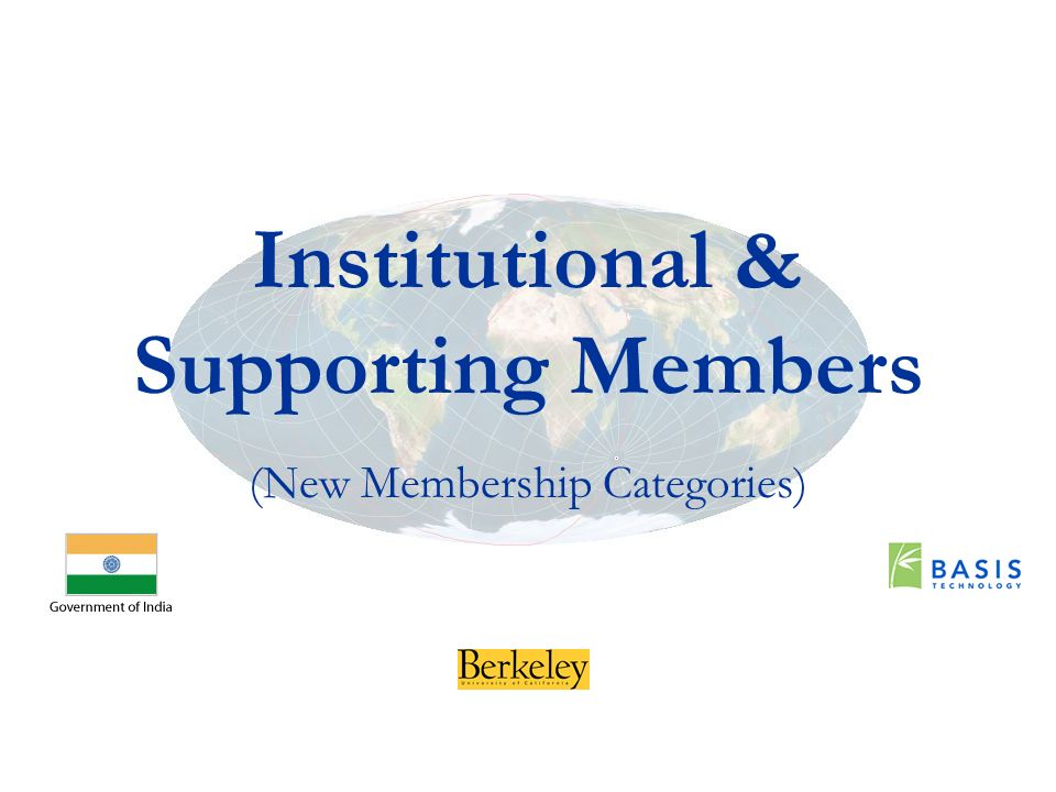 Institutional & Supporting Members (New Membership Categories)