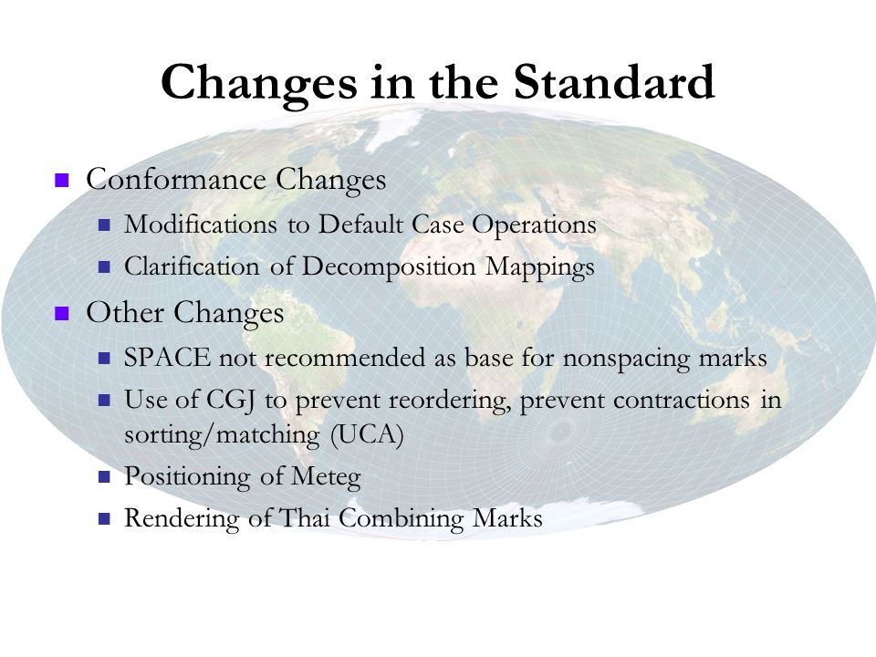 Changes in the Standard Conformance Changes Modifications to Default Case Operations Clarification of Decomposition Mappings Other Changes SPACE not r