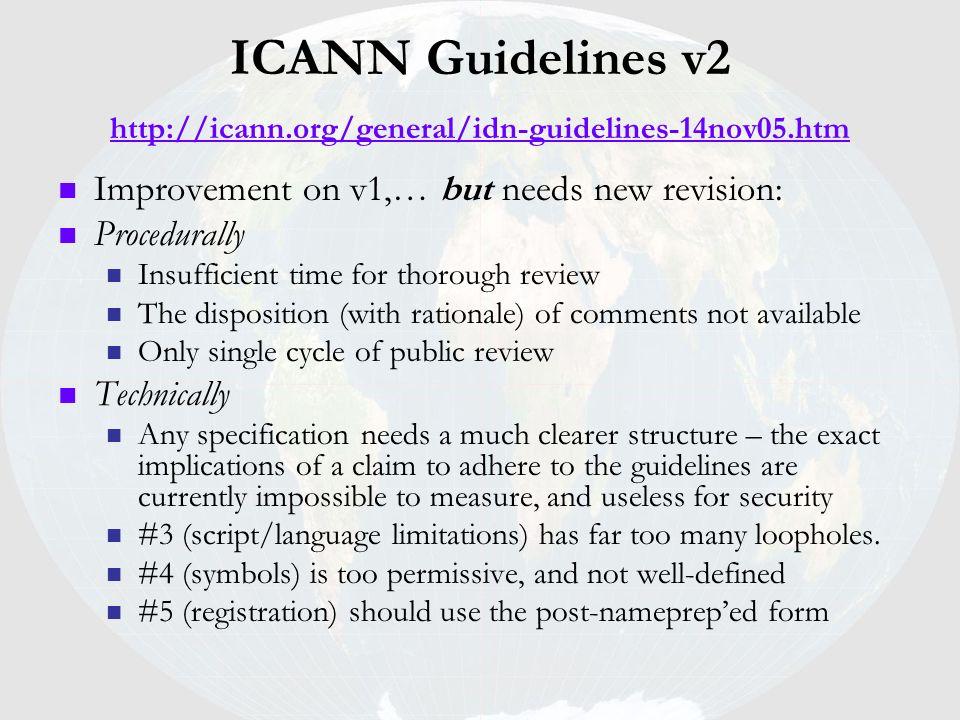 ICANN Guidelines v2 http://icann.org/general/idn-guidelines-14nov05.htm http://icann.org/general/idn-guidelines-14nov05.htm Improvement on v1,… but ne