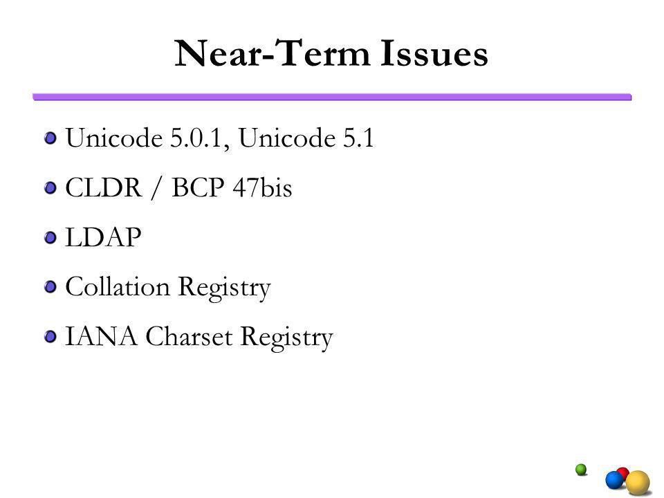 Near-Term Issues Unicode 5.0.1, Unicode 5.1 CLDR / BCP 47bis LDAP Collation Registry IANA Charset Registry