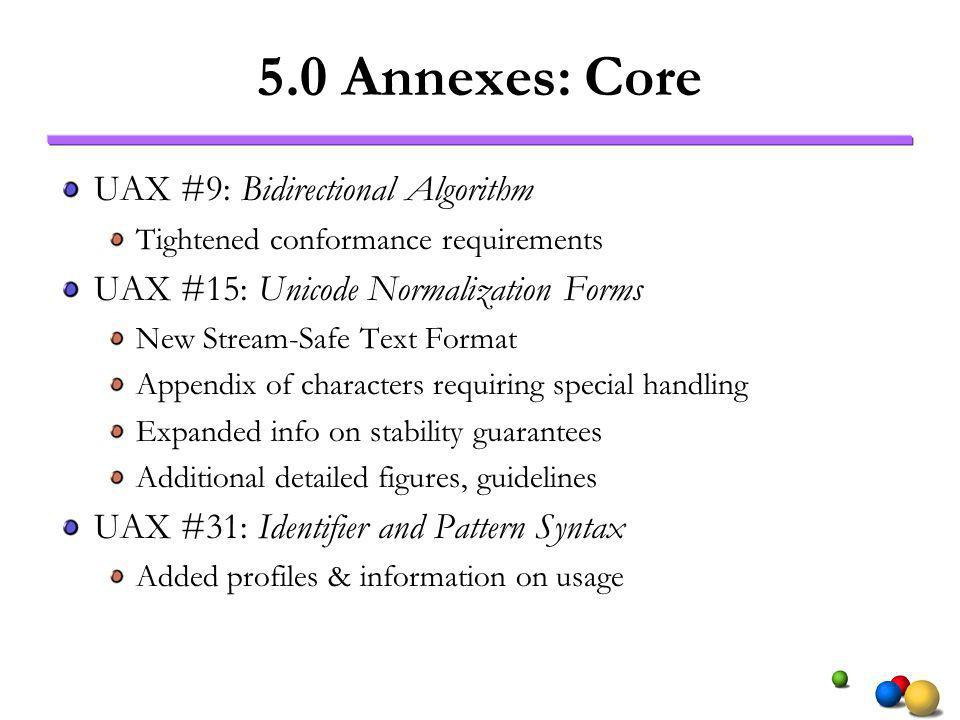 5.0 Annexes: Core UAX #9: Bidirectional Algorithm Tightened conformance requirements UAX #15: Unicode Normalization Forms New Stream-Safe Text Format