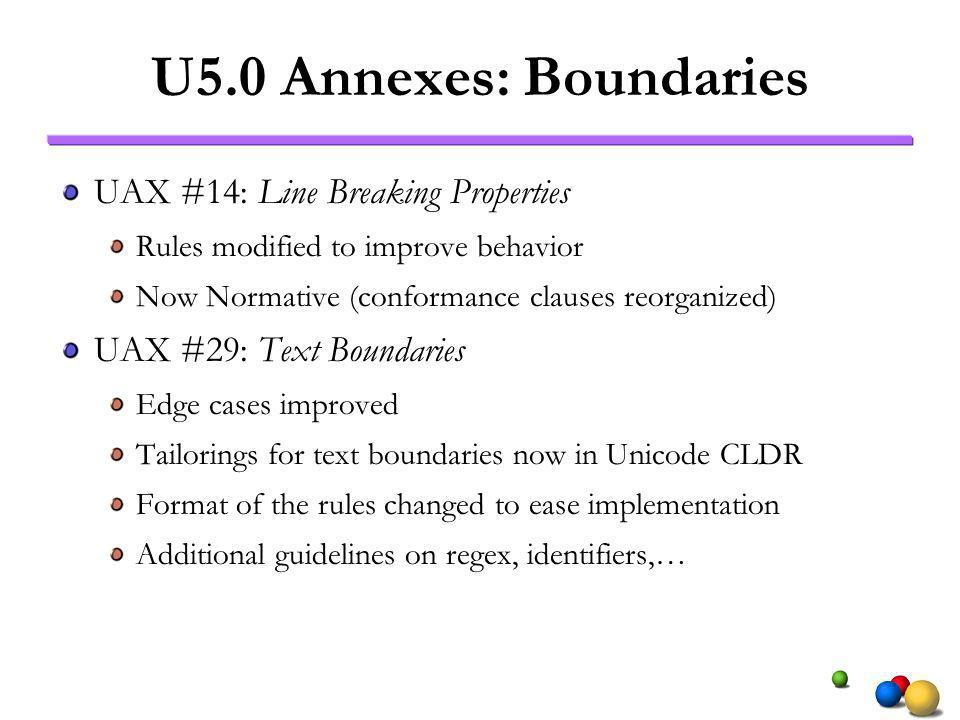 U5.0 Annexes: Boundaries UAX #14: Line Breaking Properties Rules modified to improve behavior Now Normative (conformance clauses reorganized) UAX #29: