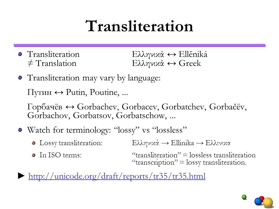 Transliteration TransliterationΕλληνικά Ellēniká TranslationΕλληνικά Greek Transliteration may vary by language: Путин Putin, Poutine,... Горбачёв Gor