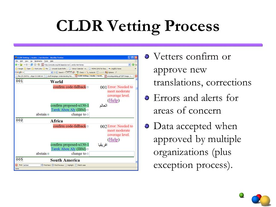 CLDR Vetting Process Vetters confirm or approve new translations, corrections Errors and alerts for areas of concern Data accepted when approved by multiple organizations (plus exception process).