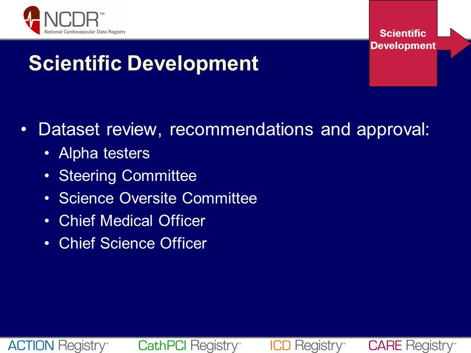 Dataset review, recommendations and approval: Alpha testers Steering Committee Science Oversite Committee Chief Medical Officer Chief Science Officer