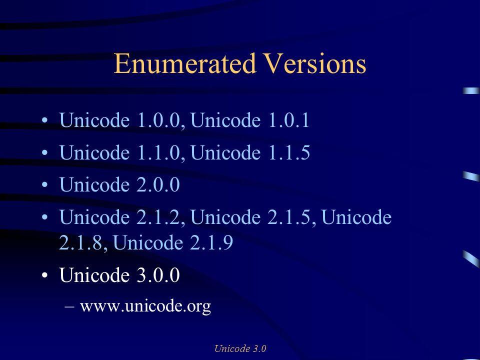 Unicode 3.0 Enumerated Versions Unicode 1.0.0, Unicode 1.0.1 Unicode 1.1.0, Unicode 1.1.5 Unicode 2.0.0 Unicode 2.1.2, Unicode 2.1.5, Unicode 2.1.8, U