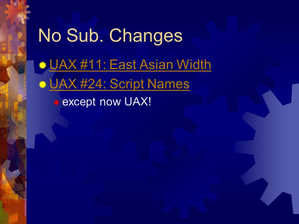 Superseded UAXes Incorporated into and thus superseded by Unicode Version 4.0: UAX #13: Unicode Newline Guidelines UAX #19: UTF-32 UAX #21: Case Mappings UAX #27: Unicode 3.1 UAX #28: Unicode 3.2