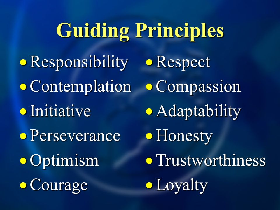 Guiding Principles Responsibility Responsibility Contemplation Contemplation Initiative Initiative Perseverance Perseverance Optimism Optimism Courage