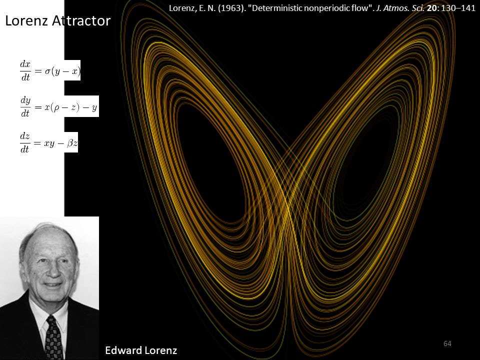 64 Edward Lorenz Lorenz Attractor Lorenz, E. N. (1963).