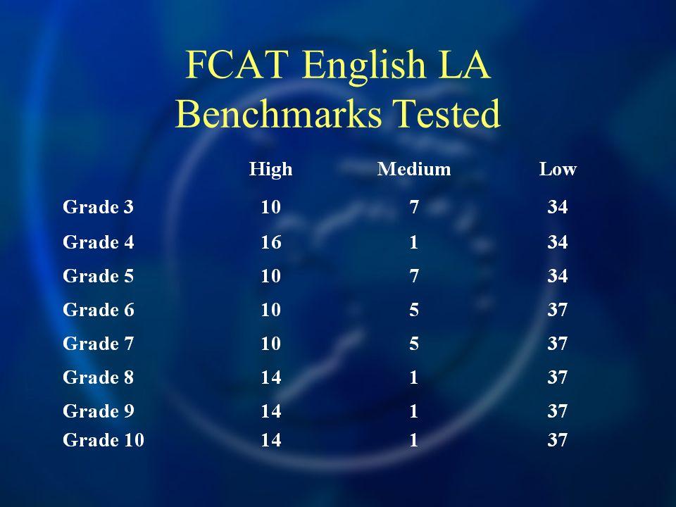 FCAT English LA Benchmarks Tested