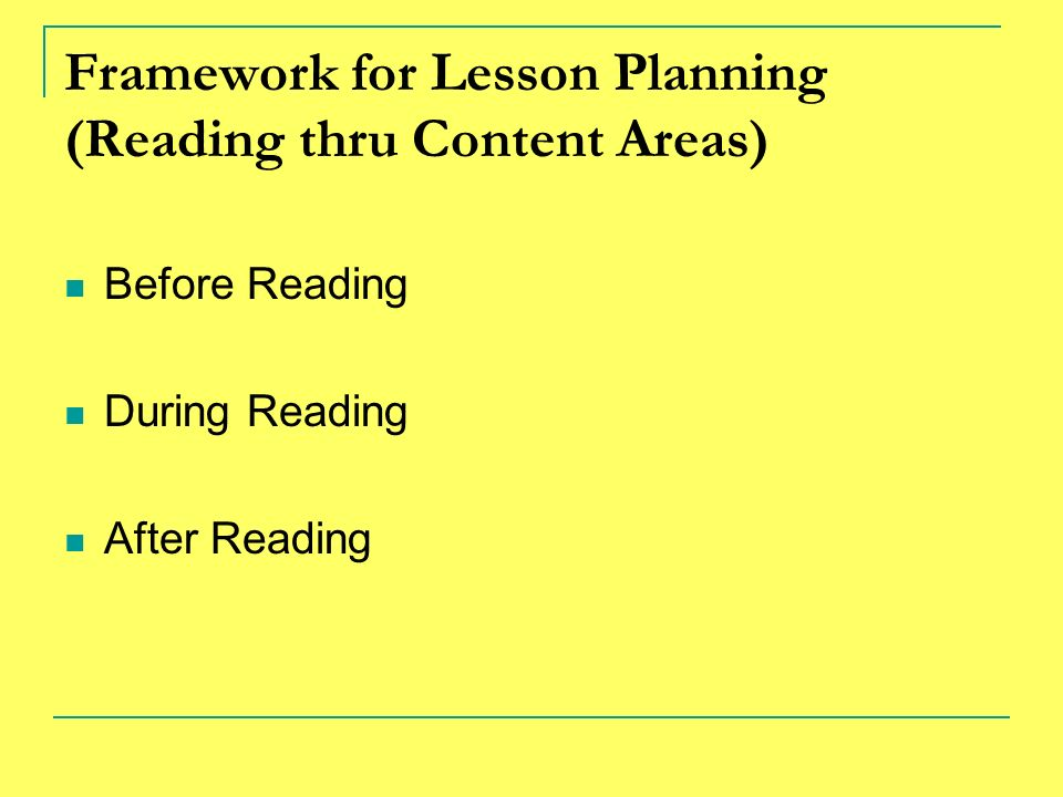Framework for Lesson Planning (Reading thru Content Areas) Before Reading During Reading After Reading