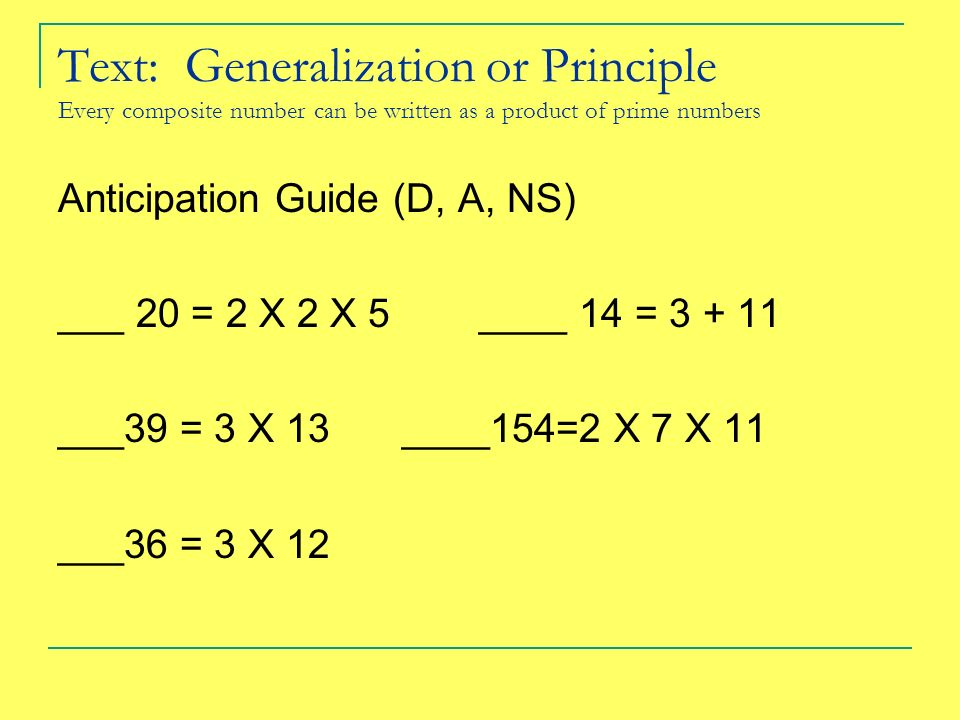 Text: Generalization or Principle Every composite number can be written as a product of prime numbers Anticipation Guide (D, A, NS) ___ 20 = 2 X 2 X 5