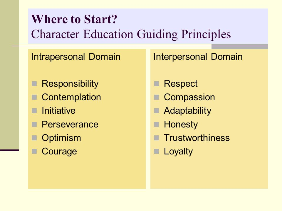 Where to Start? Character Education Guiding Principles Intrapersonal Domain Responsibility Contemplation Initiative Perseverance Optimism Courage Inte