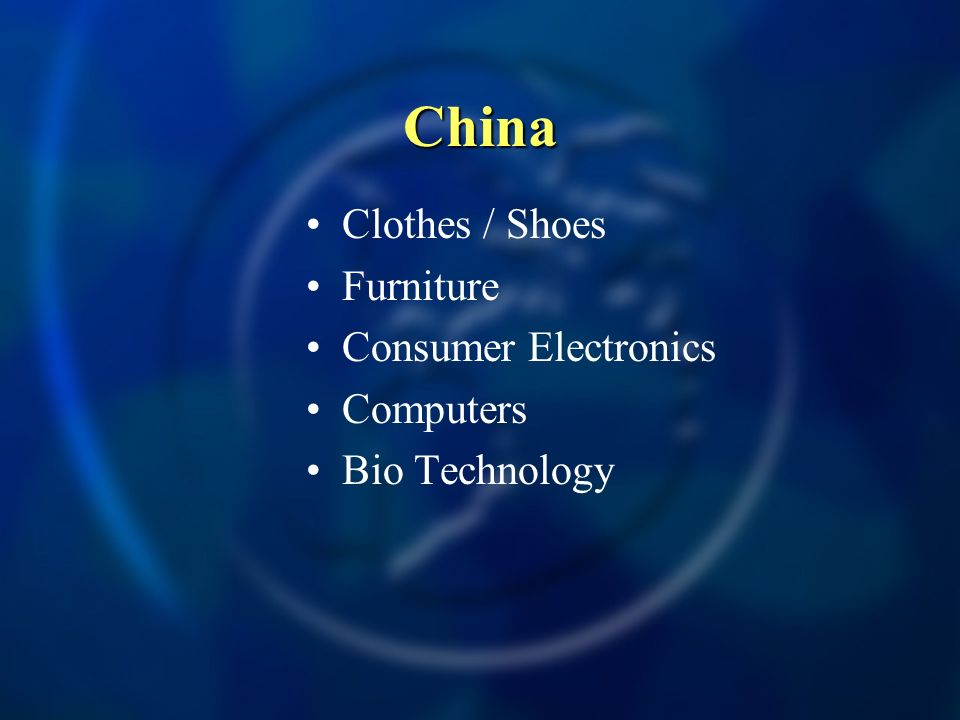 China Clothes / Shoes Furniture Consumer Electronics Computers Bio Technology