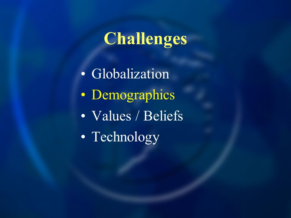 Challenges Globalization Demographics Values / Beliefs Technology