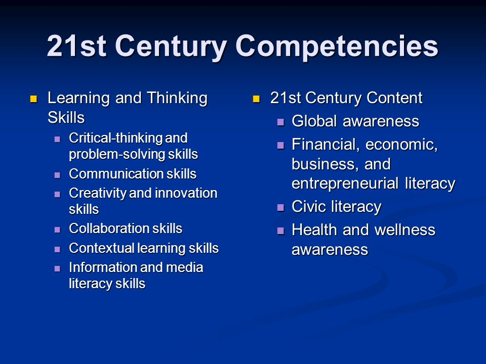 21st Century Competencies Learning and Thinking Skills Learning and Thinking Skills Critical-thinking and problem-solving skills Critical-thinking and problem-solving skills Communication skills Communication skills Creativity and innovation skills Creativity and innovation skills Collaboration skills Collaboration skills Contextual learning skills Contextual learning skills Information and media literacy skills Information and media literacy skills 21st Century Content Global awareness Financial, economic, business, and entrepreneurial literacy Civic literacy Health and wellness awareness