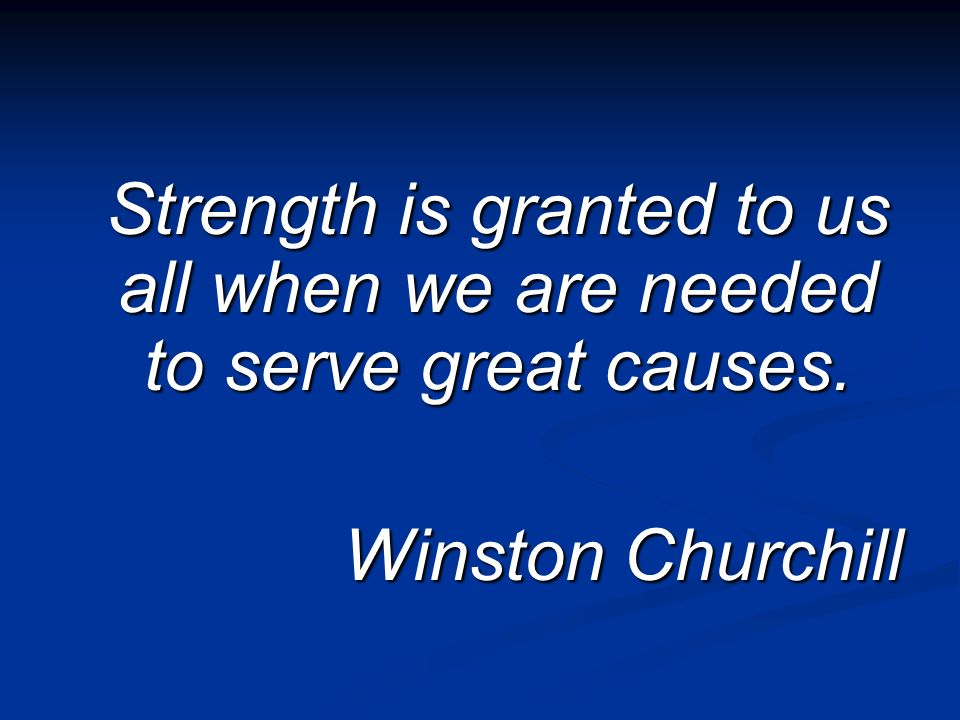 Strength is granted to us all when we are needed to serve great causes. Winston Churchill