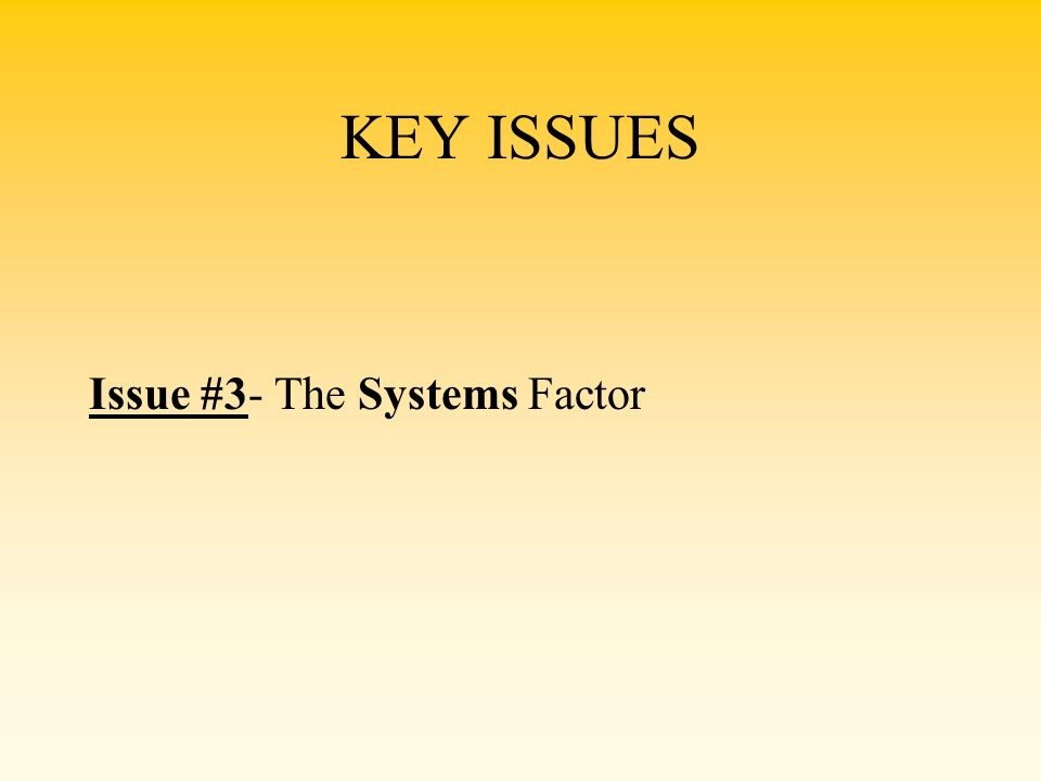 KEY ISSUES Issue #3- The Systems Factor