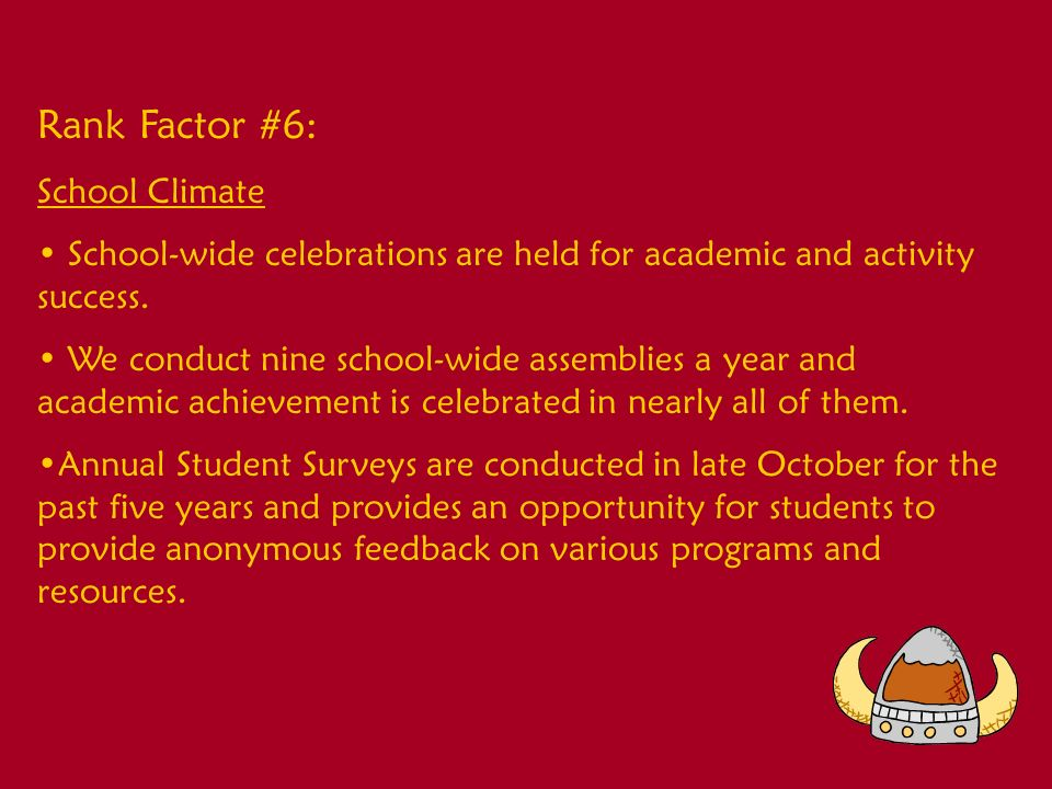 Rank Factor #6: School Climate School-wide celebrations are held for academic and activity success. We conduct nine school-wide assemblies a year and
