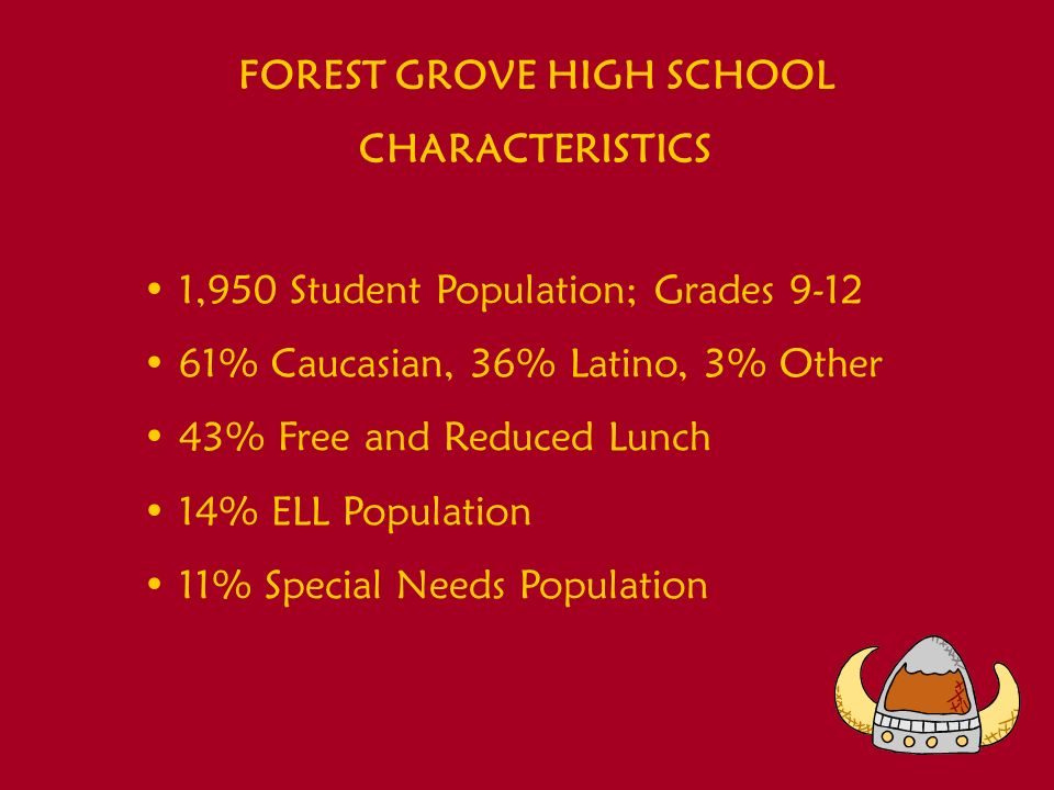 FOREST GROVE HIGH SCHOOL CHARACTERISTICS 1,950 Student Population; Grades 9-12 61% Caucasian, 36% Latino, 3% Other 43% Free and Reduced Lunch 14% ELL