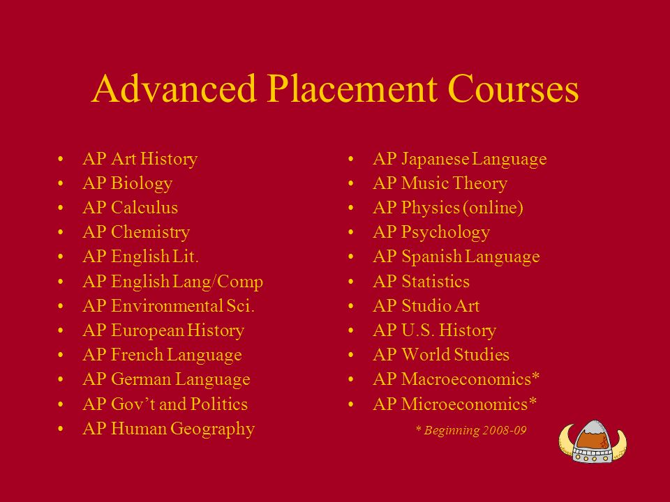 Advanced Placement Courses AP Art History AP Biology AP Calculus AP Chemistry AP English Lit.